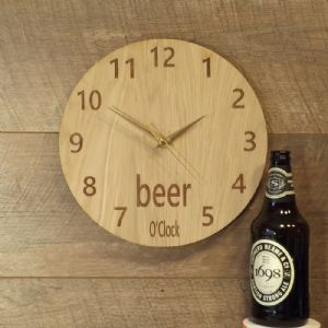 Beer O'Clock Wooden Wall Clock for Beer Lovers (G1)